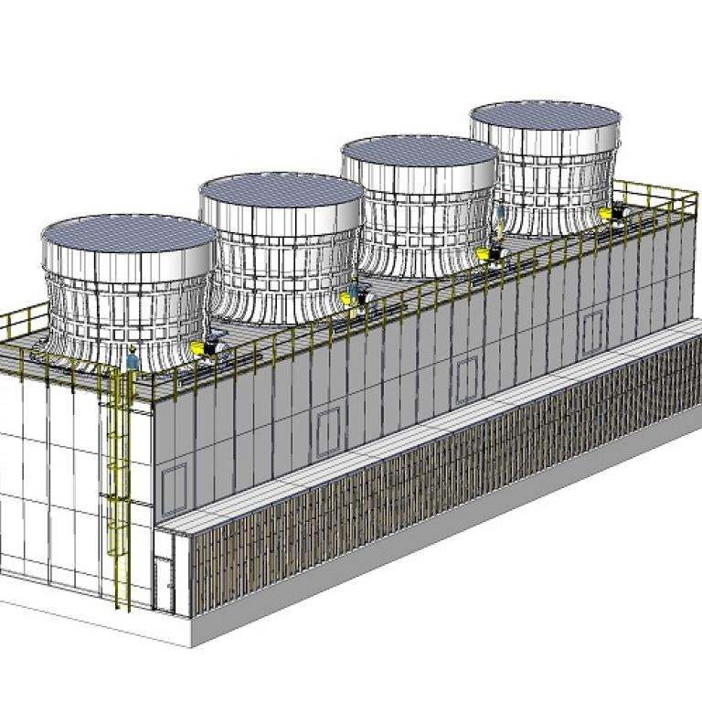 Projekt wyciszonej chłodni 4xAlfa10000 - Zasosowano absorpcyjne tłumiki hałasu oraz cichy wirnik
